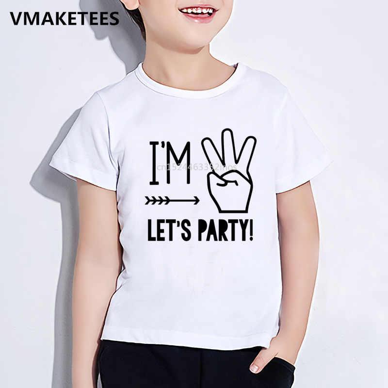 Niños 1/2/3/4/5/vamos de fiesta divertida impresión camiseta niños y niñas verano bebé camiseta bebé regalo de cumpleaños número ropa HKP5214