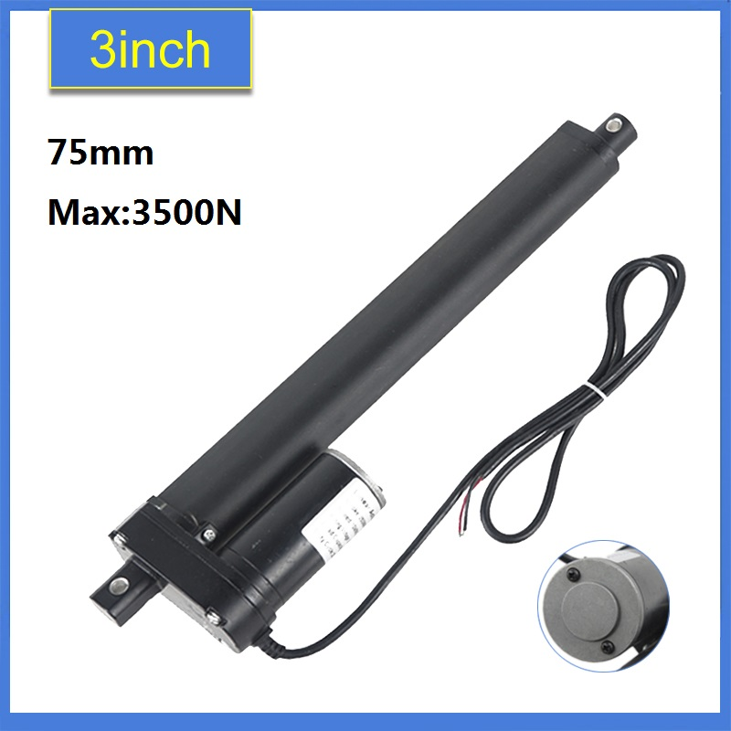 12/24V DC Electric Linear Actuator 75mm /3inch Travel 3500N / 770LBS Black Heavy Duty Linear Actuator Max Lift for Solar Tracker 24v wireless remote controller for heavy duty linear electric actuator new 1 pcs