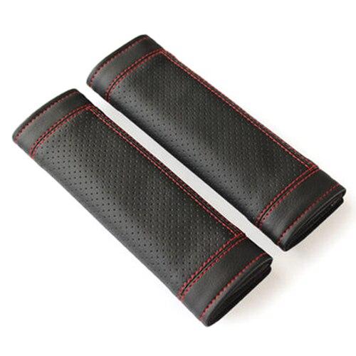 2Pcs PU Leather Car Seat Belt Shoulder pads Cover Black & Red