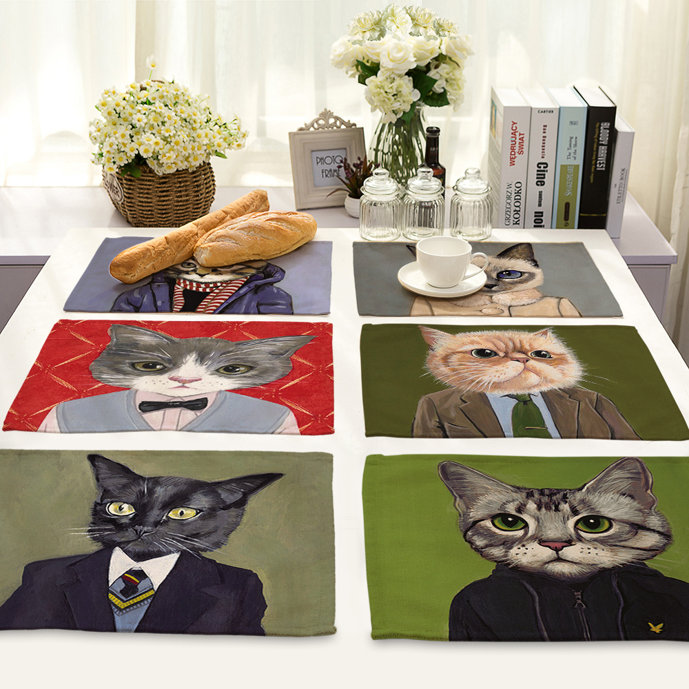 Cute Cartoon cat Pattern Table Mat Animal Table Napkin Placemat Kitchen Decoration Dining Accessories 42x32cm MA0028