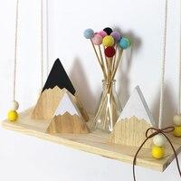 INS Nordic Top Woodland Wood Mountain dekoracyjne ręcznie Bookends drewniane bloczki ozdoby dla dzieci zabawki zdjęcie rekwizytu Home Decor|Ozdobne tablice|Dom i ogród -
