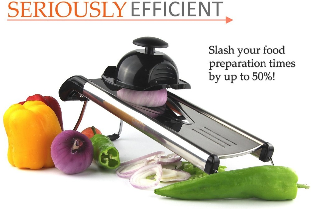 1Set Multi-Function Kitchen Slicer Set Mandoline- With Stainless Steel Sharp Blade BPA-Free ABS ( V-Slicer Black Color)(206)