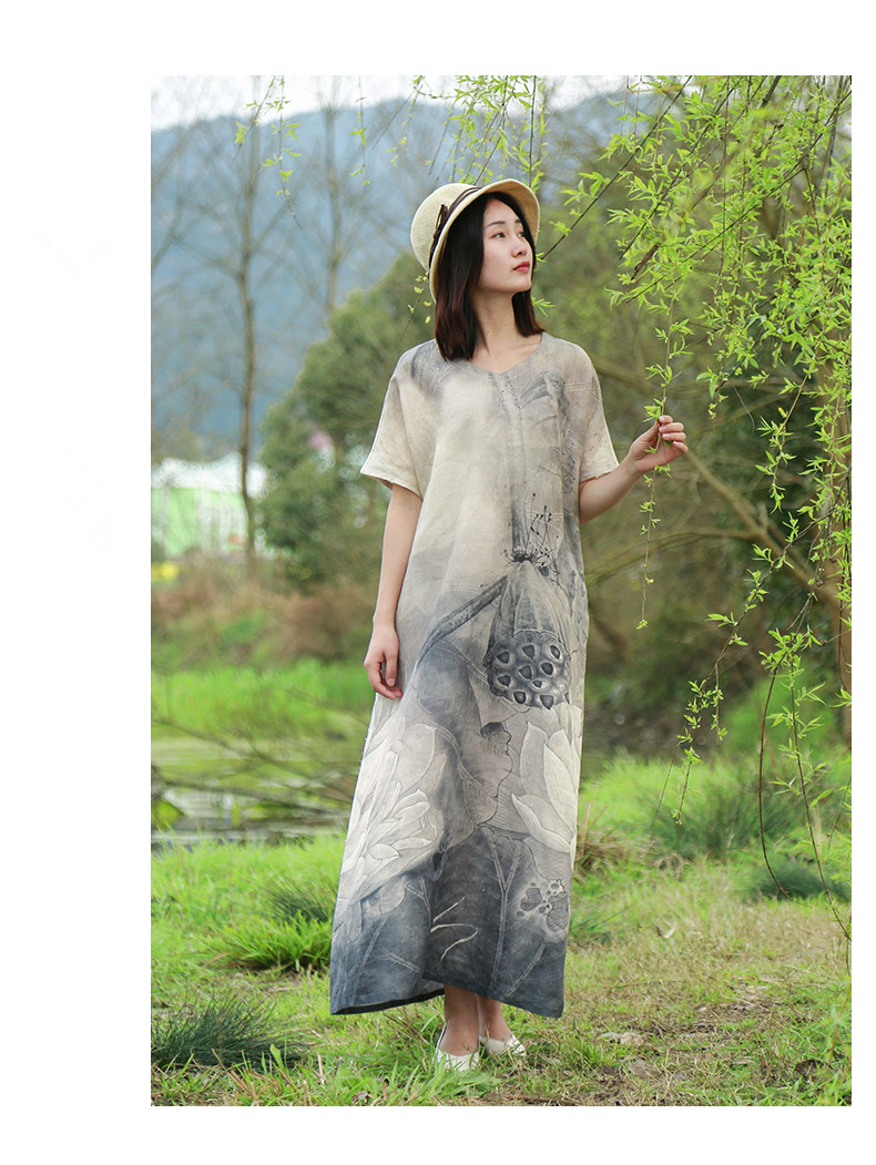 LZJN 2019 New Summer Women Retro Black Grey Lotus Print Short Sleeve Cotton Linen Dress Loose Casual Ankle Length Dress Vestidos (18)