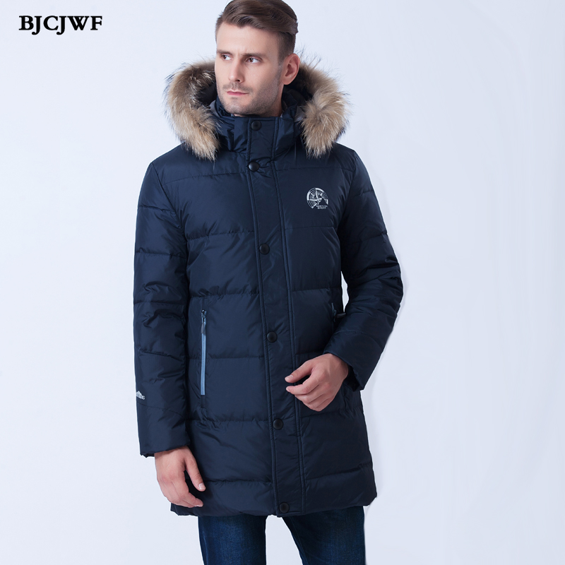BJCJWF Plus Size 6XL 2017 New Winter White Duck   Down     Coats   & Jackets With Hooded Men's Clothing Casual Warm Fur Collar Jacket