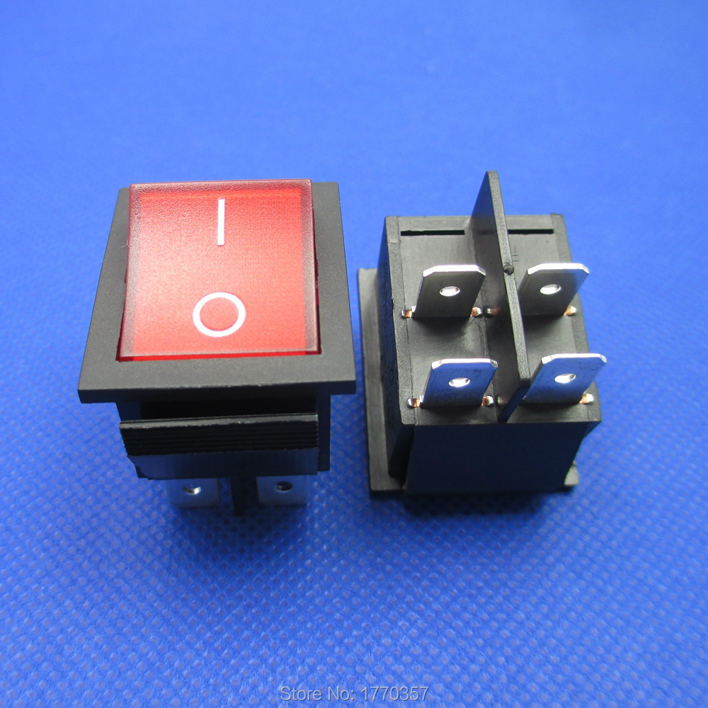 2 Pcs Brand New Latching Rocker Switch Power Switch ON-OFF  I/O 4 Pins With Light 16A 250VAC 125VAC Red Yellow Green Black Boat