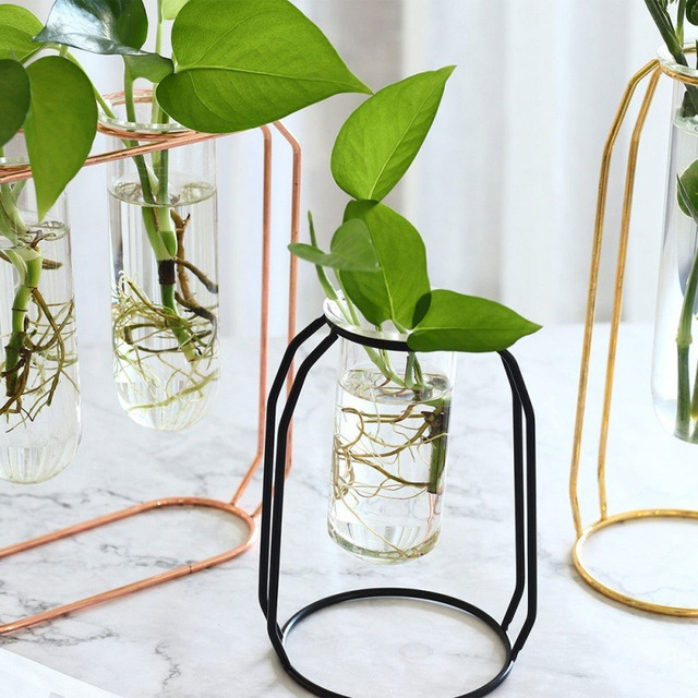 Affordable Lluxury 1Set Nordic Style Glass Iron Art Vase Rose Gold Ceometric Shape Flowerpot Home Wedding Decoration Accessories 6