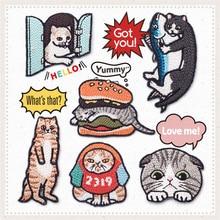 Maxsin/Милая вышитая одежда с изображением кота и животных, наклейки, детская одежда, пуховик, джинсовая куртка, сделай сам, ремонт, отверстие, модная нашивка