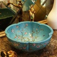 Stage bonsai Dezhen ceramic bathroom vanity washbasin washbasin art basin plum flower bird LO620443