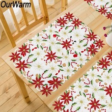 OurWarm 2pcs New Year Christmas Table Decorations for Home 11x17 inch Polyester Poinsettia Embroidered Placemats