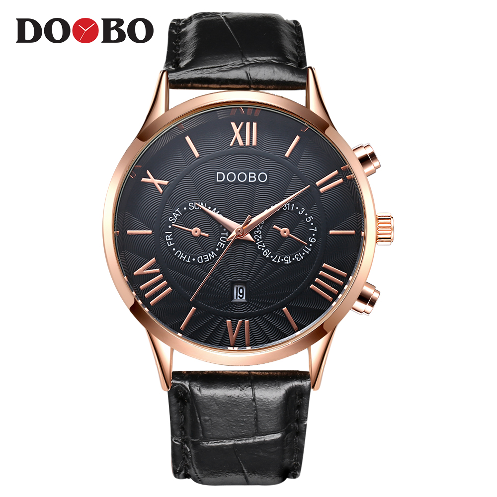 DOOBO Sport Watches Men Gold Waterproof Leather Business Quartz Wristwatch Military Clock Male Relogio Masculino Ceasuri Hodinky vinoce top luxury brand men military sport watches men s quartz clock male leather waterproof casual business wristwatch relogio