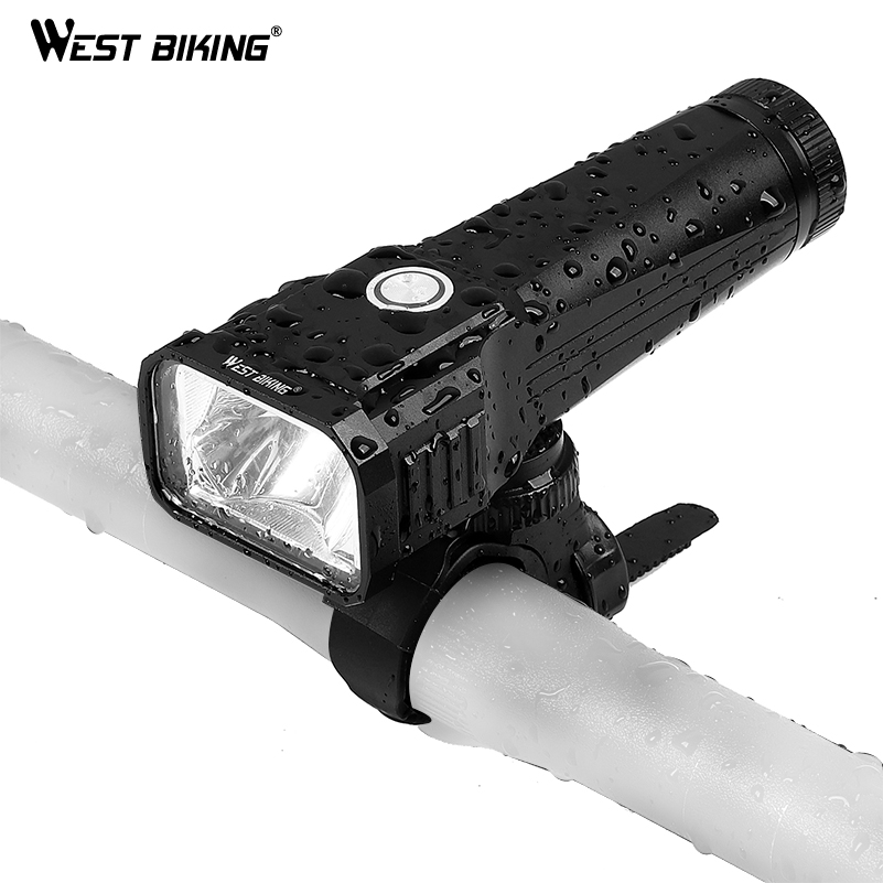 WEST BIKING USB Rechargeable Bicycle Light T6 LED Front Light Built-in Battery Flashlight Torch Cycling Headlight MTB Bike Light