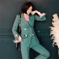 Fashion green Pant suits femme autumn New casual OL double breasted small suit jacket high end business suit two piece set women