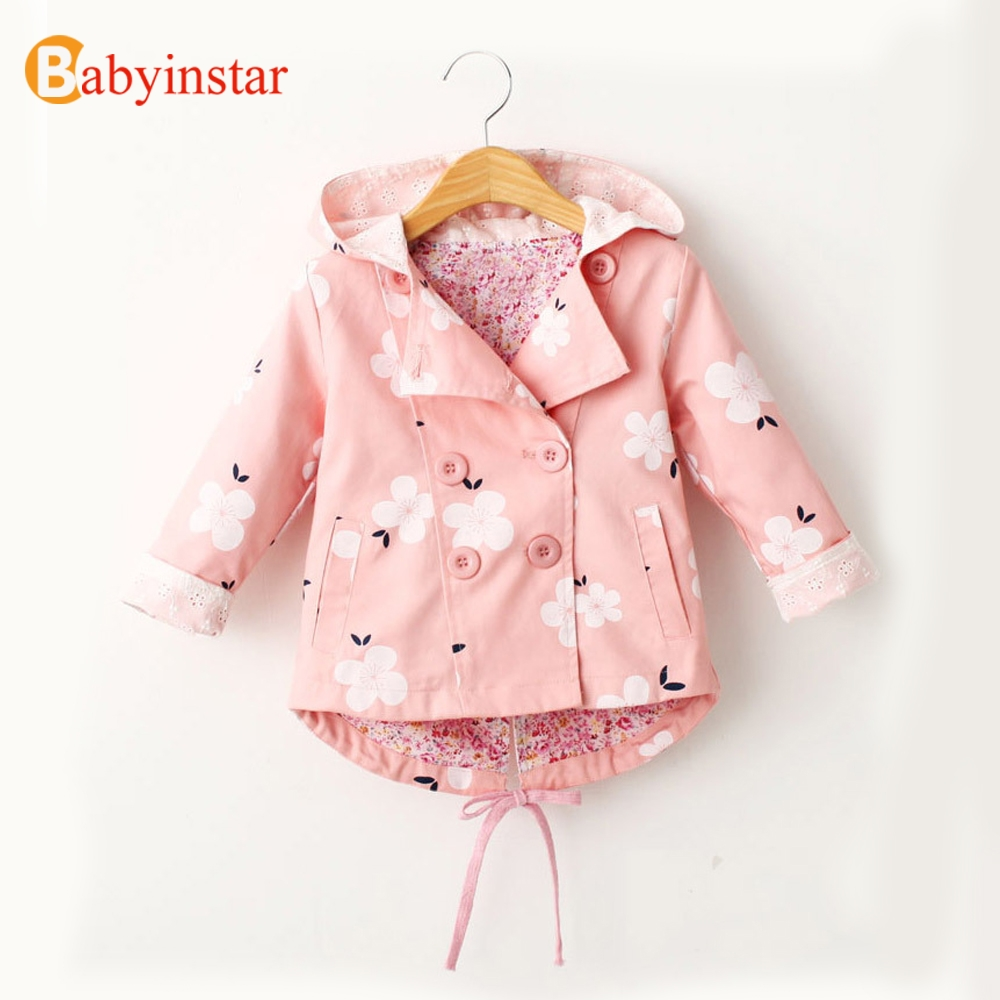 Babyinstar Baby Girls Trench Coats 2018 New Toddle Girls Button Floral Print Trench Coat Girl's Jacket Girls Outerwear & Coat