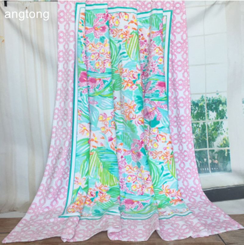170X170cm big beach towel European and American wind pink bottom with pastoral flower print 100% cotton 2 persons beach towel