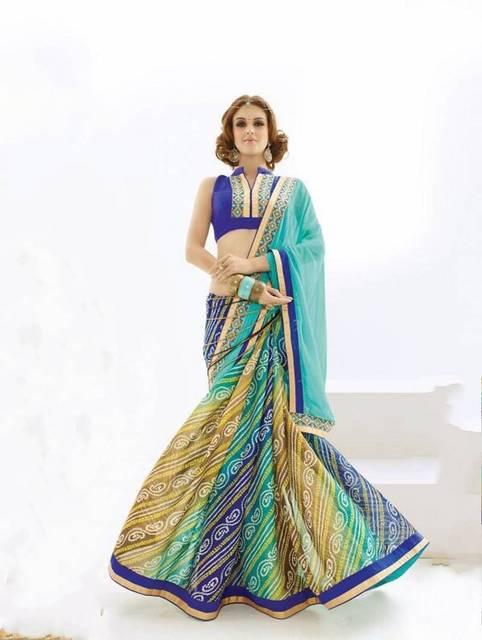 Azul marino saris Georgette de impresión mujeres indias