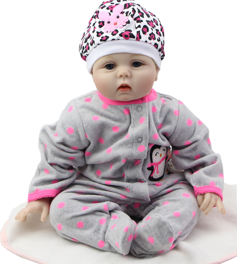 Realistic 22 Inch NPK Collection Doll Silicone Reborn Baby Doll Can Lying And Sitting Soft Cloth Body Doll Wearing Pink Headwear
