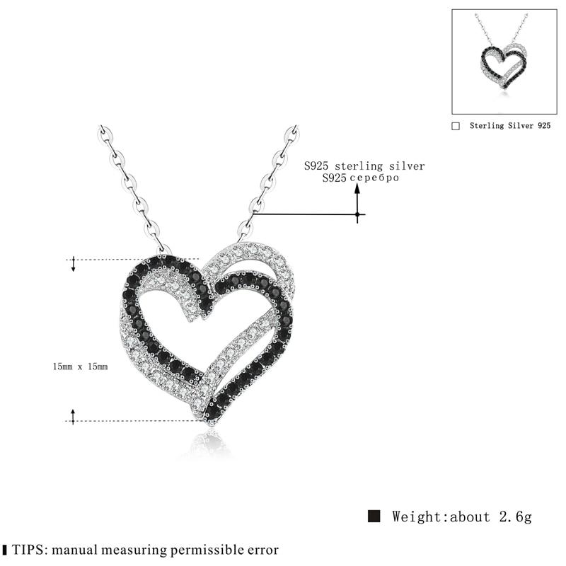 Fine Genuine 100% 925 Sterling Silver Necklace Women Jewelry Heart Black&White Stone Pendants P107