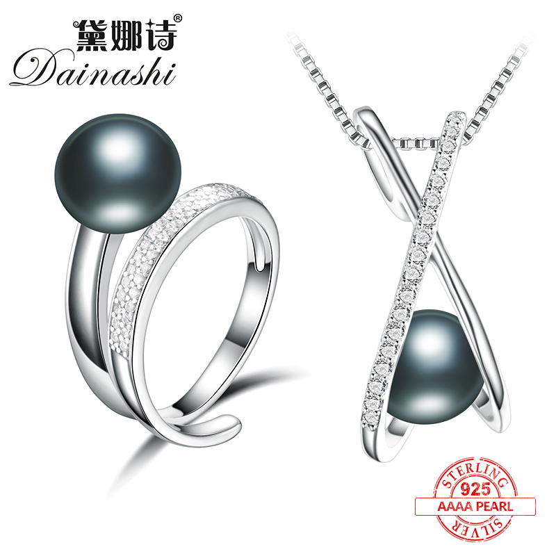 Dainashi cross spiral shape peculiar design 925 sterling silver black pearl jewelry sets with resizable rings/pendants/chainDainashi cross spiral shape peculiar design 925 sterling silver black pearl jewelry sets with resizable rings/pendants/chain