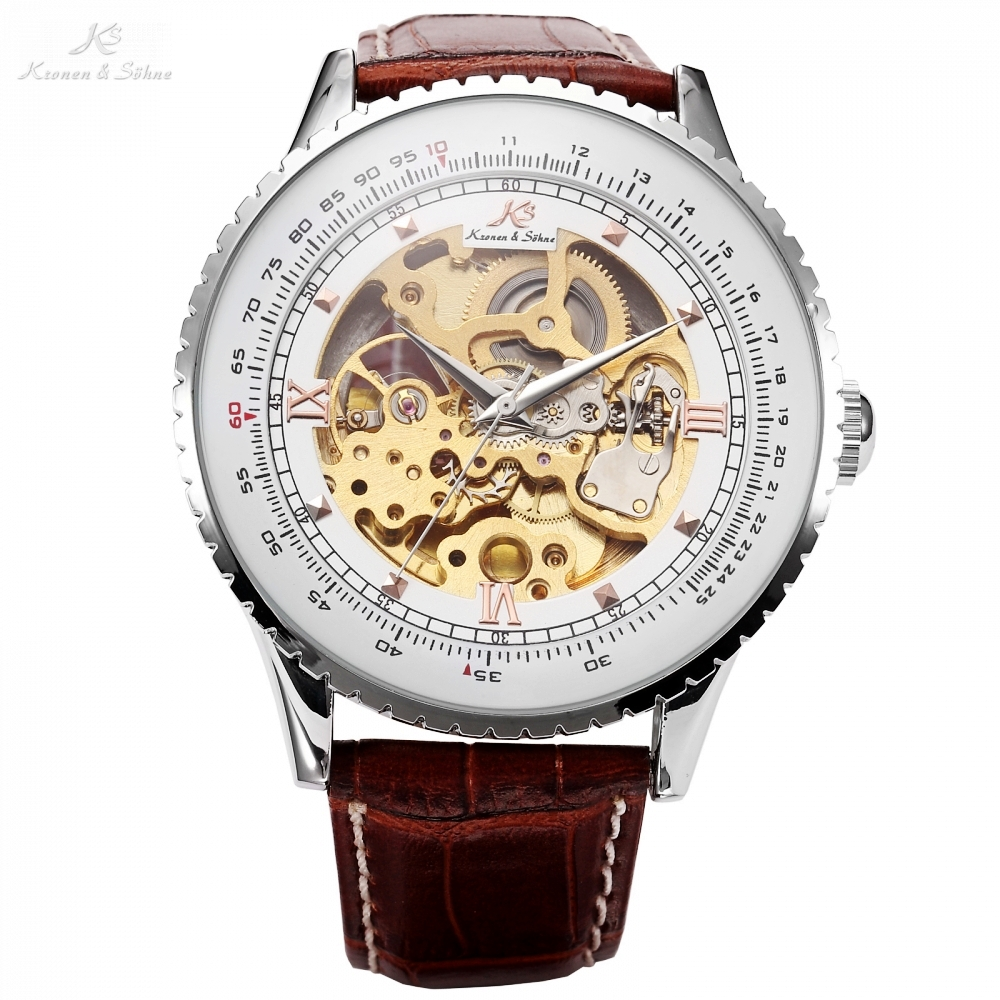 Kronen Sohne Royal Carving Brown Leather Band Automatic Mechanical Skeleton Men Dress Gift Relogio Self Winding Watch  /