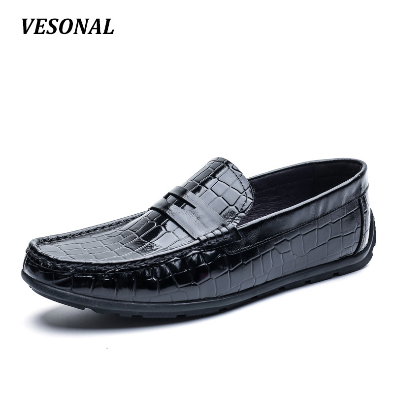 VESONAL 100% Luxury Genuine Leather Loafers Men Shoes Slip On Flats Driving Classic Mens Shoes Casual Boat Designer SD7091 men s crocodile emboss leather penny loafers slip on boat shoes breathable driving shoes business casual velet loafers shoes men