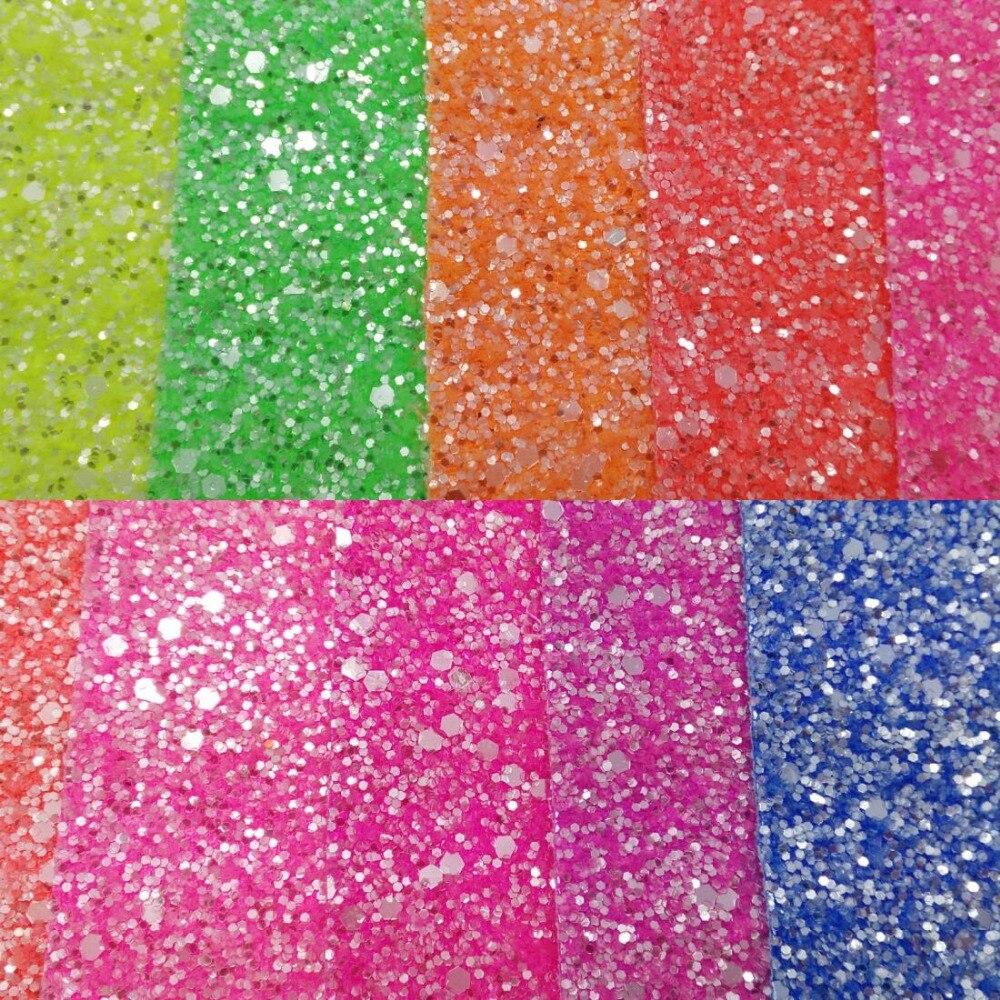 90x134 cm In Pelle Sintetica Chunky Glitter fluorescenza Glitter Cuoio DELL'UNITÀ di elaborazione del Tessuto Cucito Tessuto Tessuto per FAI DA TE Fabirc P190