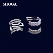 MIGGA Micro Cubic Zirconia Crystal Geometric Clip Ear Cuff Earrings Silver Color Women No Pierced Jewelry(China)