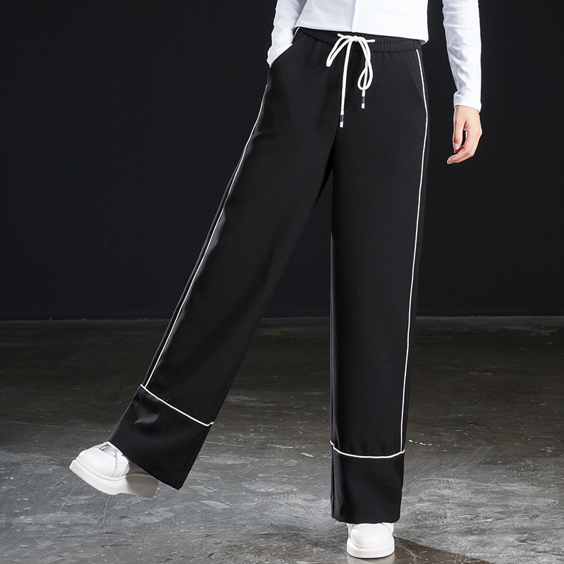 2019 New Elasticated high waist Side Stripe Women Wide Leg Pants Black Autumn Winter