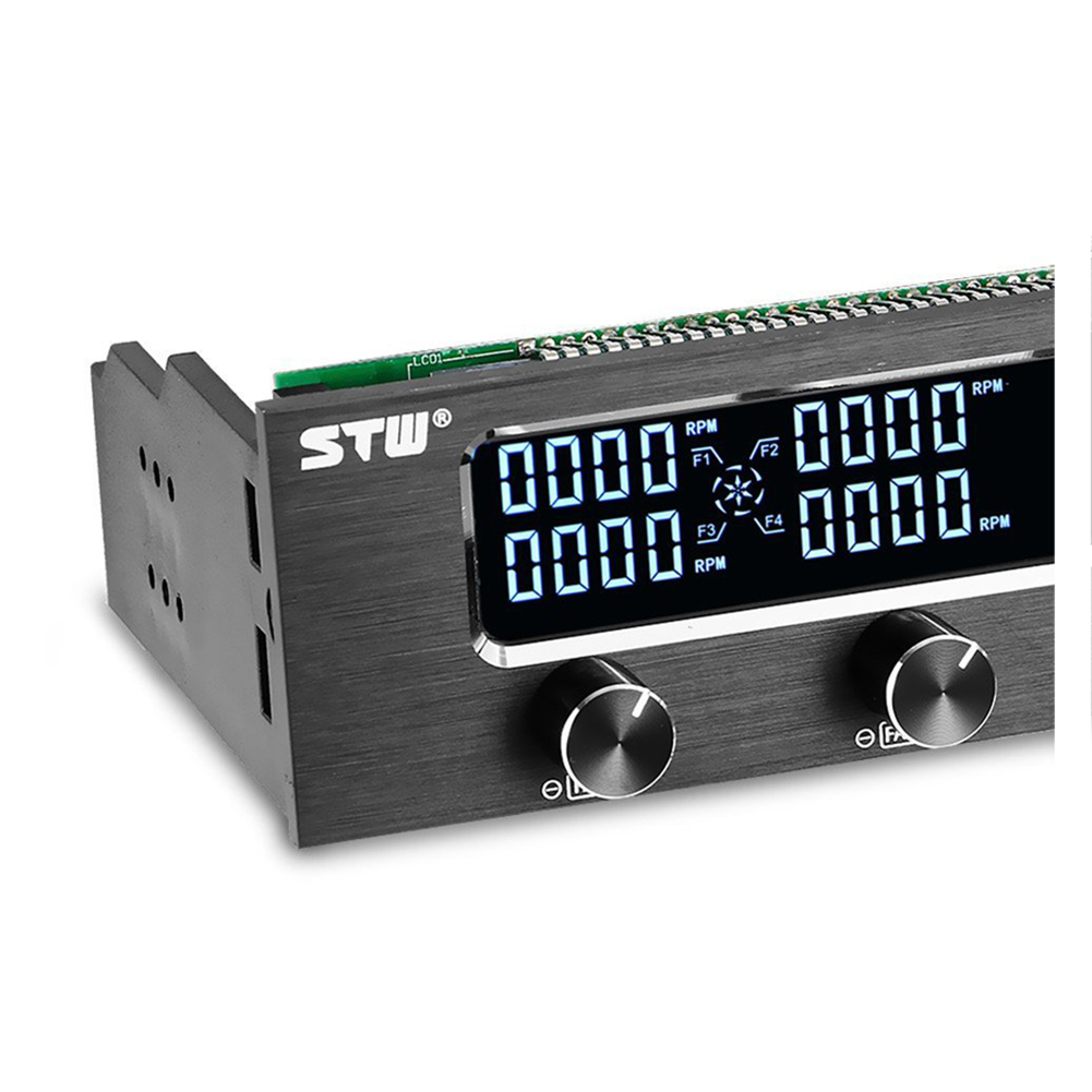 STW Pc <font><b>5.25</b></font> Inch Drive <font><b>Bay</b></font> Full Brushed Aluminum 4 Channel PWM <font><b>Fan</b></font> Controller with LCD Screen image