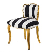 Palace Dining Chair Golden Finish / Fabric Upholstery / 75cm High