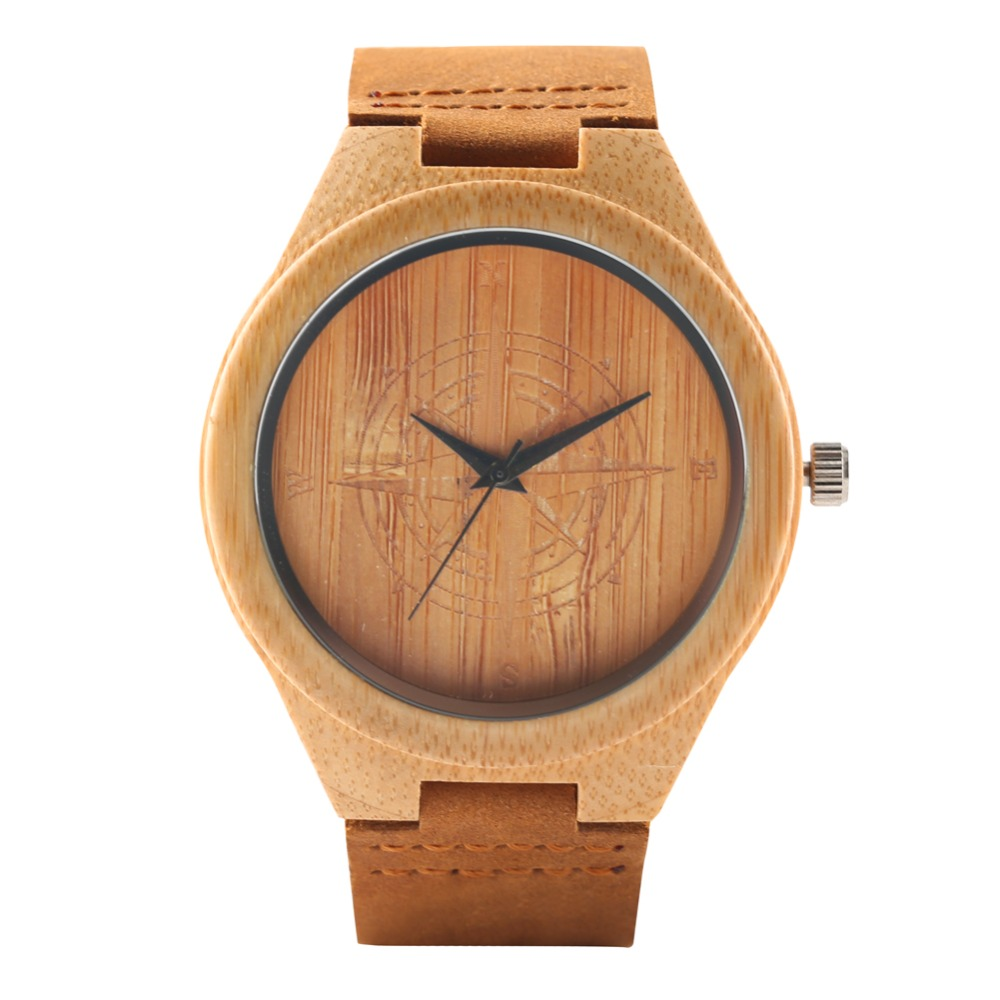 Bamboo Watch Gifts Wooden Brown Handmade Unique Quartz Fashion Copass Color Men