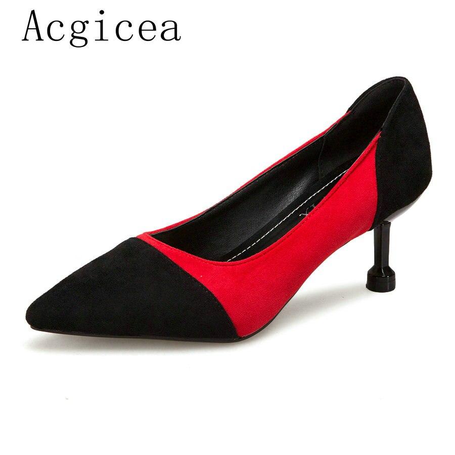Tacones 2018 Bombas Moda De Zapatos Nuevas Sexy Señoras caqui Rojo Cena Elegante Gamuza Mujer Las Vestido Calzado Verano Club Mujeres ItXxqXYr