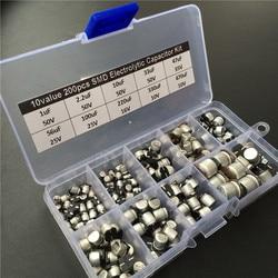 10 valores 200 piezas SMD condensador electrolítico kit surtido 10 V ~ 50 V 1 uF ~ 470 uF con caja de almacenamiento