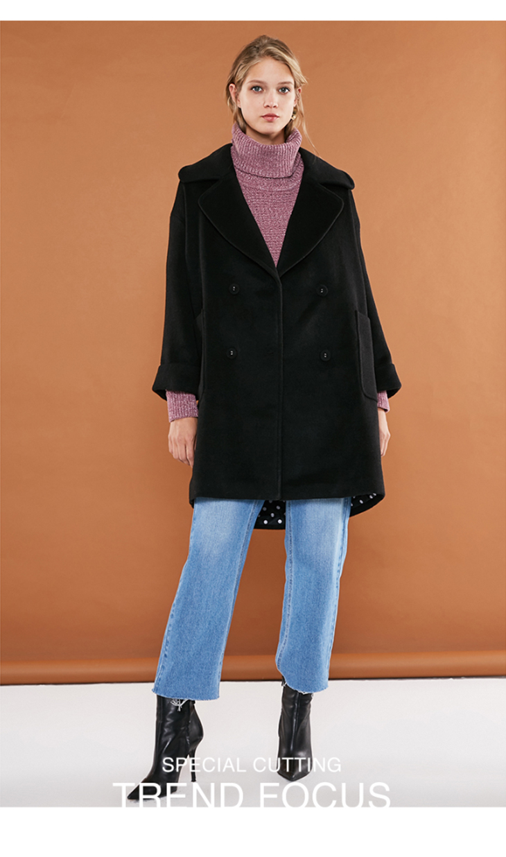 ONLY womens' winter new long section with wool double-breasted woolen coat Simple and versatile Double-breasted|11836T512 22