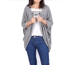 Women Soft Casual Oversized Bat Sleeve Sweater Coat Polyamide Cardigan Autumn Jacket P16 L4