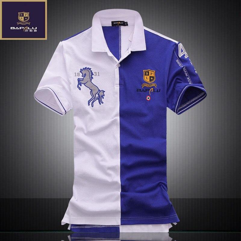 summer new men's embroidery breathable 100% cotton   polo   shirt Men's lapel Leisure Slim Business   polo   shirt bapalu Brand