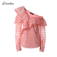 Foamlina Brand Women's Blouse Shirt 2017 New Autumn Hollow Out Embroidery Lace Off Shoulder Long Sleeve Street Style Ruffles Top