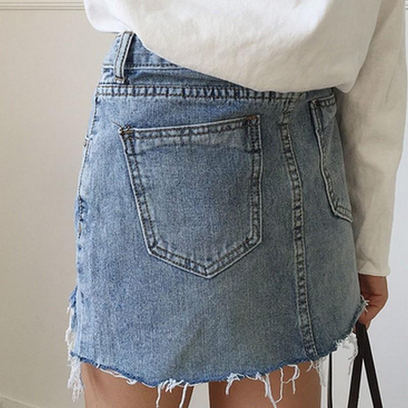 Pencil Skirt High Waist Washed Skirts Irregular Edges Denim Skirts All Match Mini Size Womens 1PC 2018 Summer Fashion Skirt