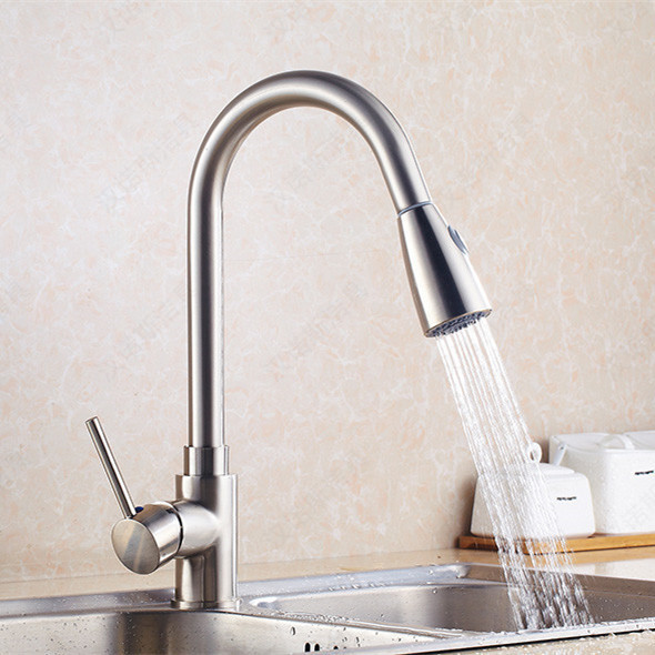 Brushed pull out kitchen sink mixer tap with solid brass hot cold ...