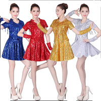 Women Glitter Sequins Jazz Stage Club Square Dance Costume Top+Skirts 3 Sets Tracksuit Suit For Women Gold Silver Dance Clothing