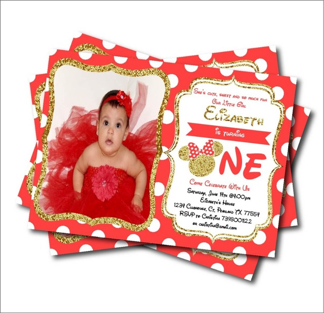 20pcs Lot Custom Minnie Mouse Birthday Invitation Card Baby Shower