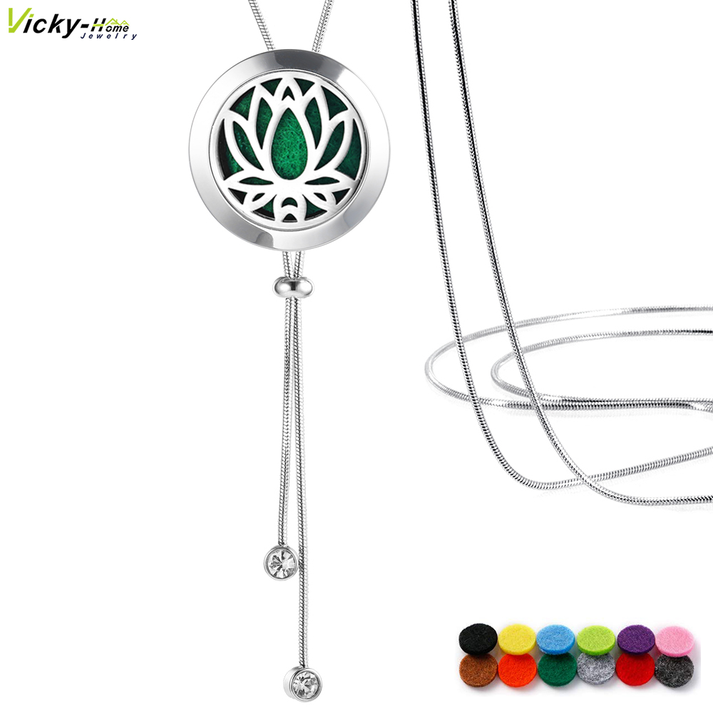 1- NP02-7 Essential Oil Diffuser Locket Pendant Necklace Stainless Steel-2