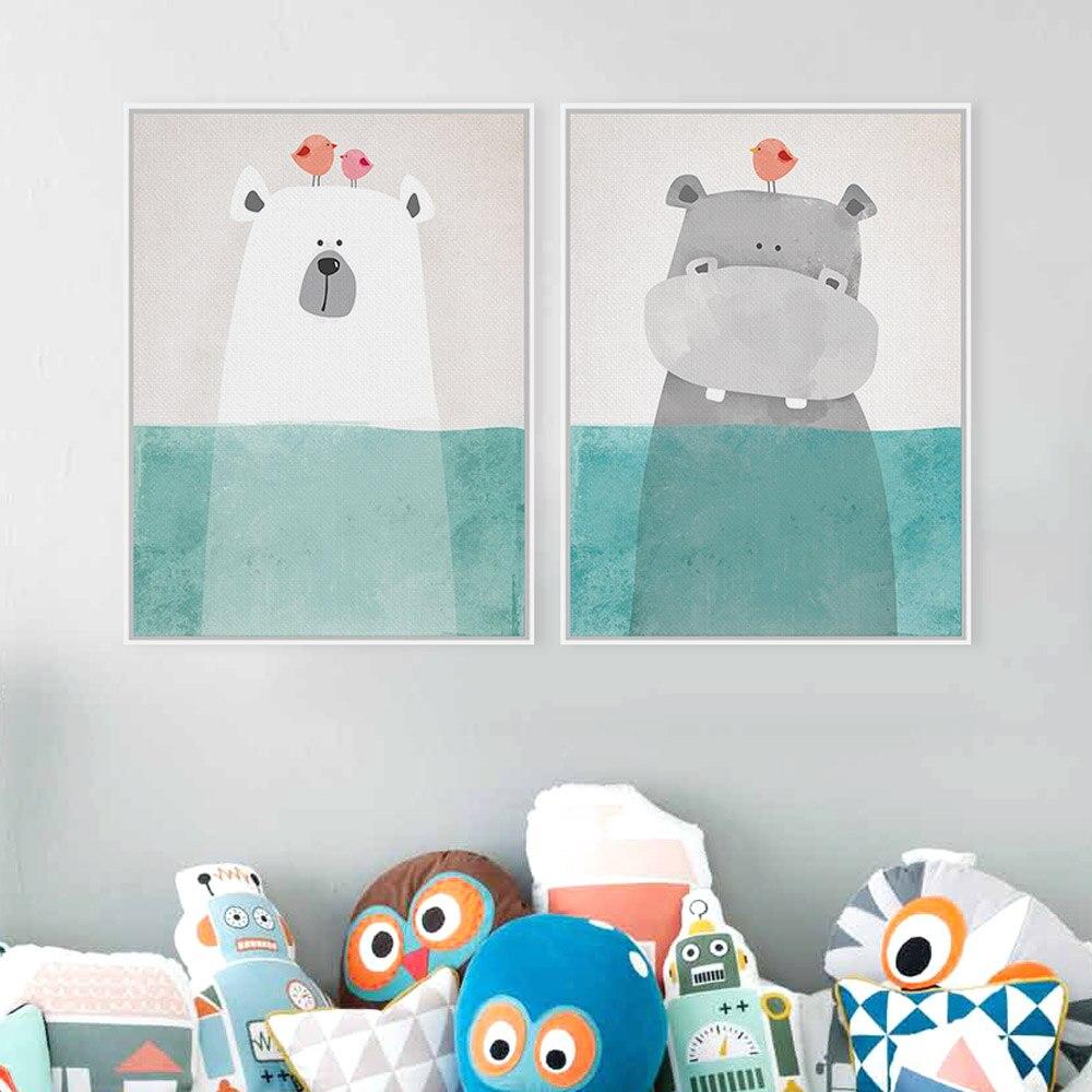 Modern cute animal bear hippo poster print wall art for Vintage childrens room decor