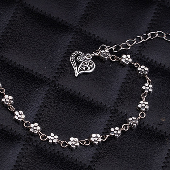 New Fashion Foot Chain Tibetan Silver Hollow Plum Daisy Flowers Heart-Shaped Anklet For Women 3