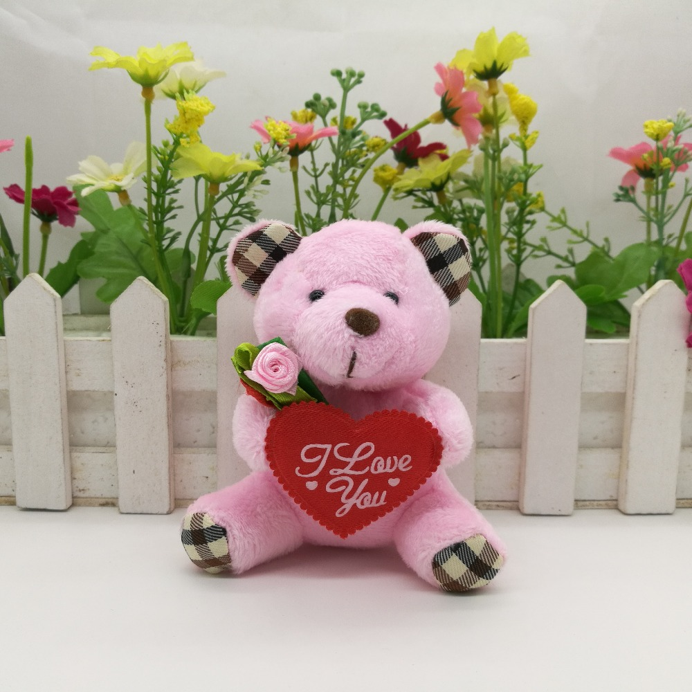 wholesale 9cm stuffed teddy bear with i love you heart and flower
