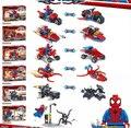 Marvel Super Heroes 6 Unids/set Venom Spiderman motocicleta de Autos volantes Niños Edificio De Ladrillo Del Juguete Del Coche Compatible con lepin