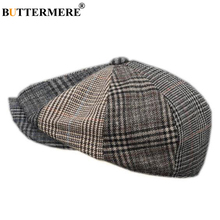 BUTTERMERE ลายสก๊อต Newsboy หมวกขนสัตว์ Houndstooth แบนหมวกชายออกแบบแบรนด์ Duckbill ฤดูใบไม้ร่วงฤดูหนาวจิตรกรแปดเหลี่ยมหมวก