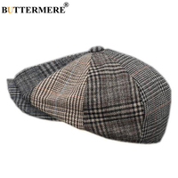 BUTTERMERE Plaid Newsboy Caps Men Wool Houndstooth Flat Cap Male Brand Designer Duckbill Autumn Winter Painter Octagonal Hats