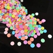 1000 шт./лот 5 мм круглый полимерный горячий мягкий глиняный посыпает Красочные для поделок DIY крошечные милые пластиковые аксессуары для бриколажа