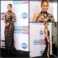 Frete grátis outono inverno alta Neck frisado voltar Appiques longo luxo Jennifer Lopez tapete vermelho Vestidos de celebridades Vestidos