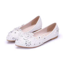 купить Sweet Lace Bow Ballet Flats Women Pointed Toe Pu Leather Flat Summer Shoes Woman Bowtie Wedding Party Shoes Loafers XY-A0185 дешево